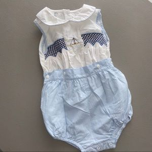 Smocked Sailboat Button-on Blue Gingham Suit